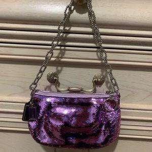 Coach Poppy Purple Sequin Clutch